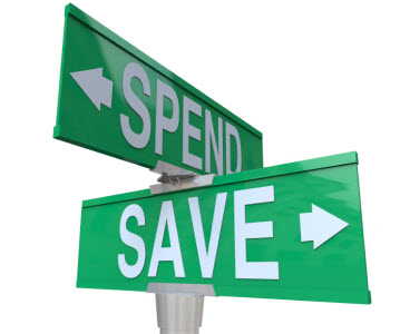Spend vs Save street sign