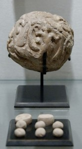 Clay Tokens in Globular envelope, Uruk period. Photo by Marie-Lan Nguyen