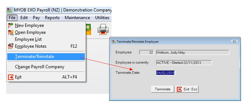 Processing termination pay in MYOB EXO