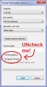 Windows disk format dialog box